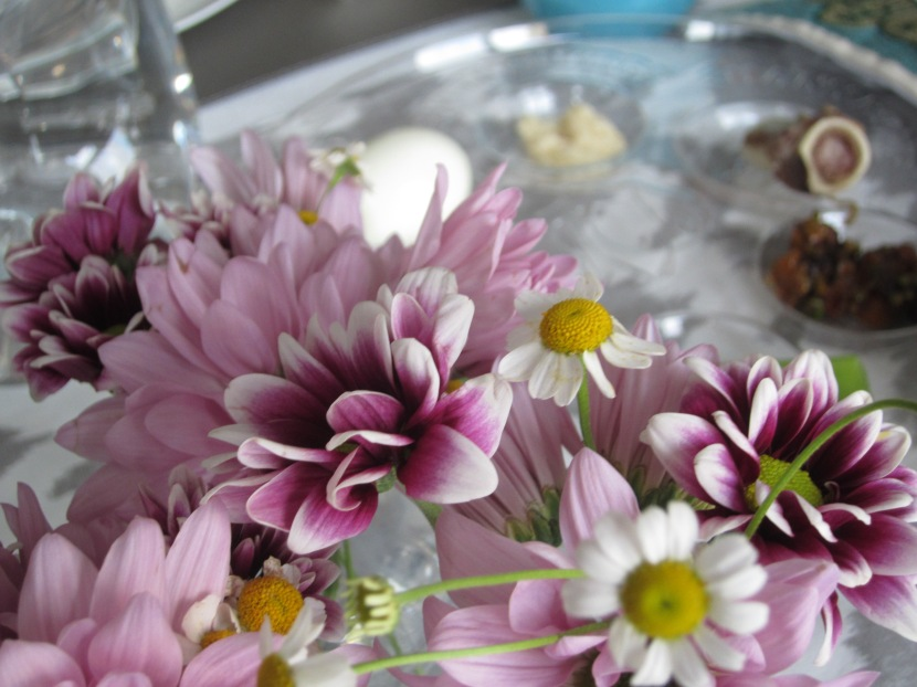 Flowers and Seder Plate